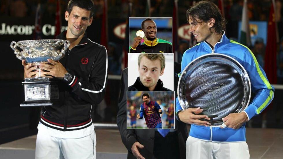 HVEM ER BEST I VERDEN?: Novak Djokovic (til venstre) vant finalen i Australian Open mot Rafael Nadal. Johan Kaggestad mener det er umulig å si hvem som er verdens beste idrettsutøver. Foto: AP Photo/Rick Rycroft/Scanpix