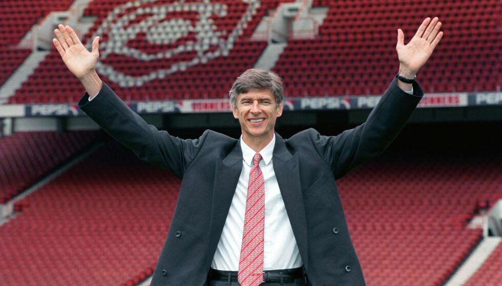STARTEN: 22 september 1996 ble det offentliggjort at Arsène Wenger var den nye manageren til Arsenal. Foto: NTB Scanpix