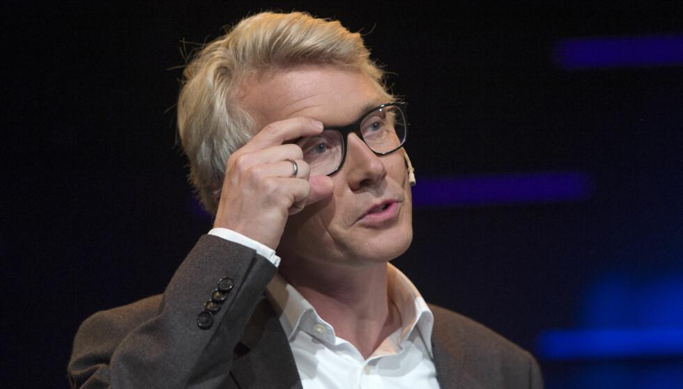 TYNNERE I REKKENE: TV2-sjef Olav T. Sandnes gjør forandringer i topposisjonene til TV 2. Her under høstlansering i Bergen august. Foto: Marit Hommedal / NTB scanpix