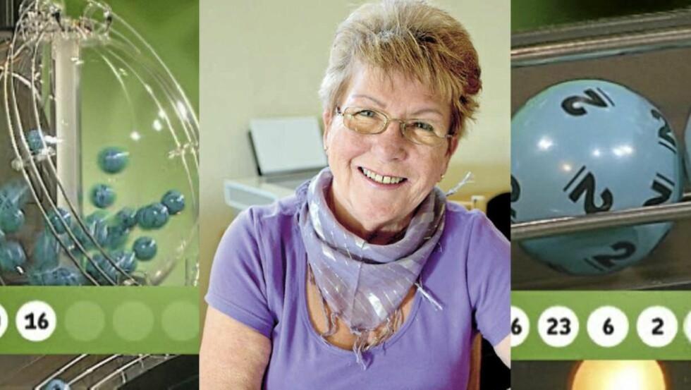 LOTTOGLEDE: Berit fyller snart 70, men sitter nå i en nedbetalt enebolig. All gjeld ble slettet da hun vant Lottomillionen.  FOTOMONTASJE: Per Egil Larsen/Anders Rasch