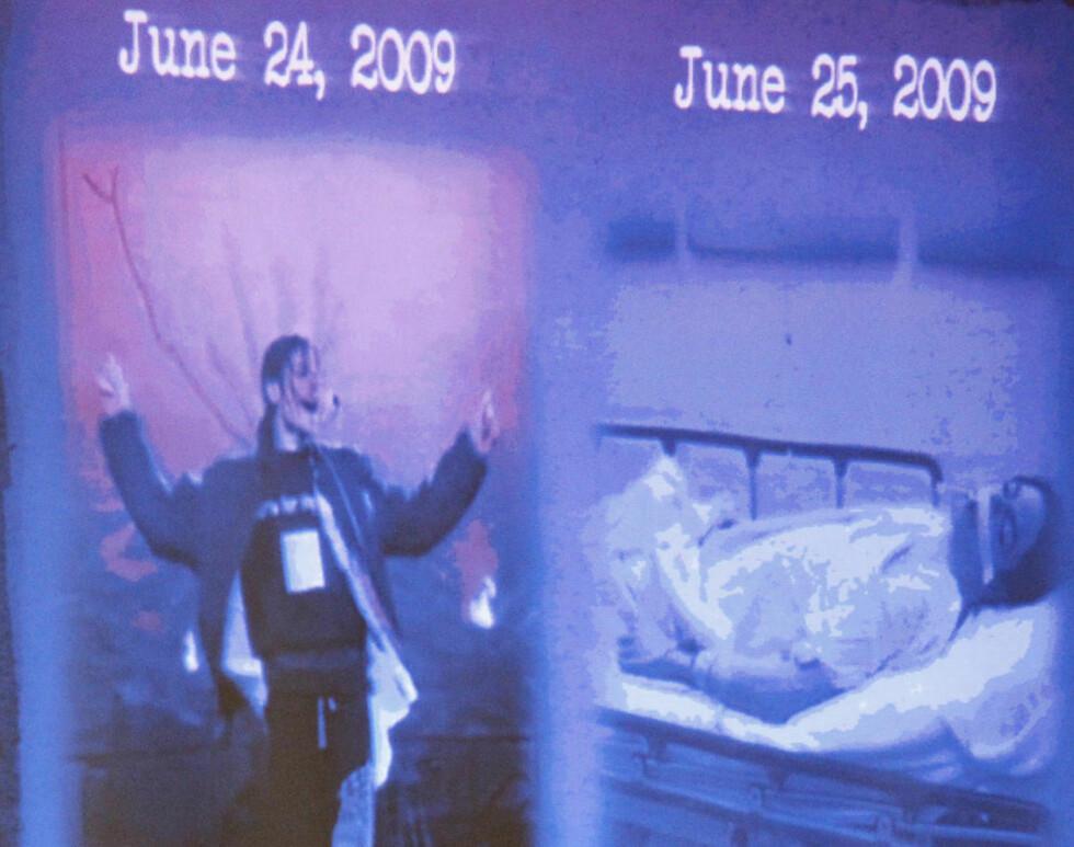 LA FRAM BILDER: Aktoratet viste fram disse bildene under innledningsforedraget i rettssaken mot Michael Jacksons lege. Bildene er tatt med ett døgns mellomrom. Foto: AL SEIB/AP