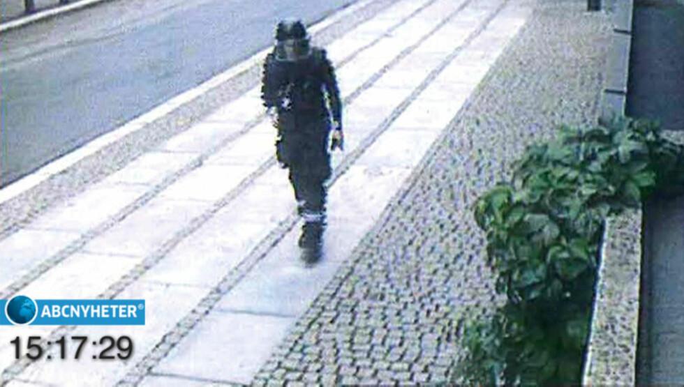 PÅVIRKET: Anders Behring Breivik brukte steroider, ifølge seg selv blant annet for å klare å bevege seg rundt i utrustningen han hadde på seg 22. juli . Foto: Fra ABC Nyheter, gjengitt med tillatelse