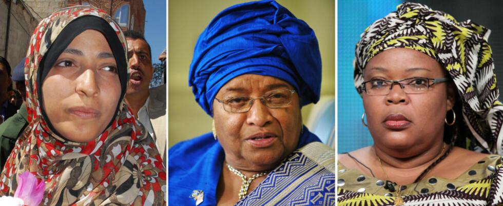 PRISVINNERNE:  Tawakkul Karman, Ellen Johnson-Sirleaf, og Leymah Gbowee. Foto: Scanpix