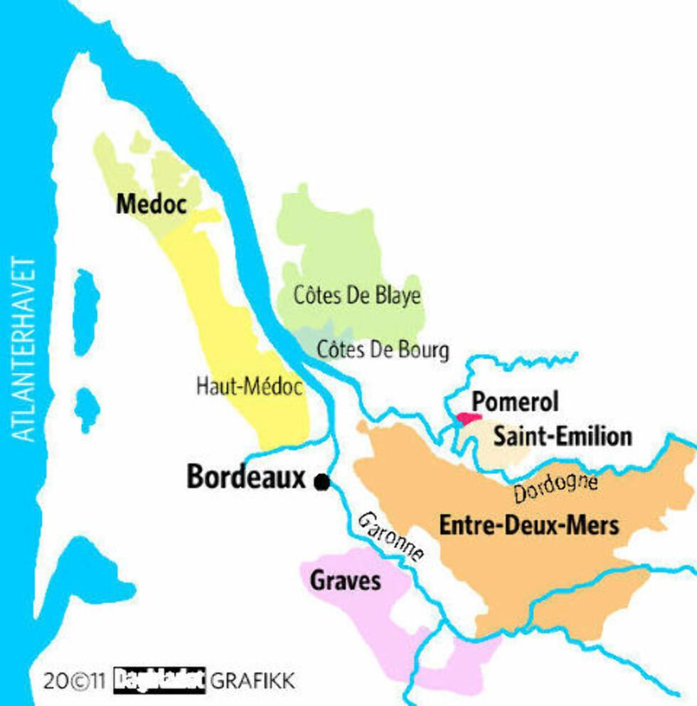 BORDEAUX: De ulike vinområdene. Grafikk: KJELL ERIK BERG/DAGBLADET