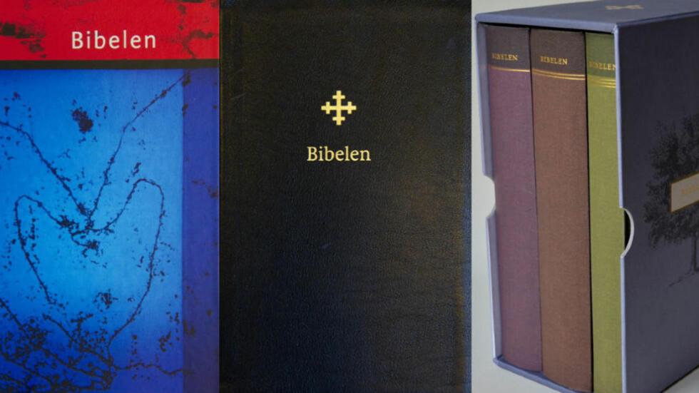 SKREDDERSYDD: Den nye versjonen av bibelen kommer i flere utgaver. Her er fra venstre standardutgaven, en i svart skinn og litteraturutgaven av den nye bibelen..