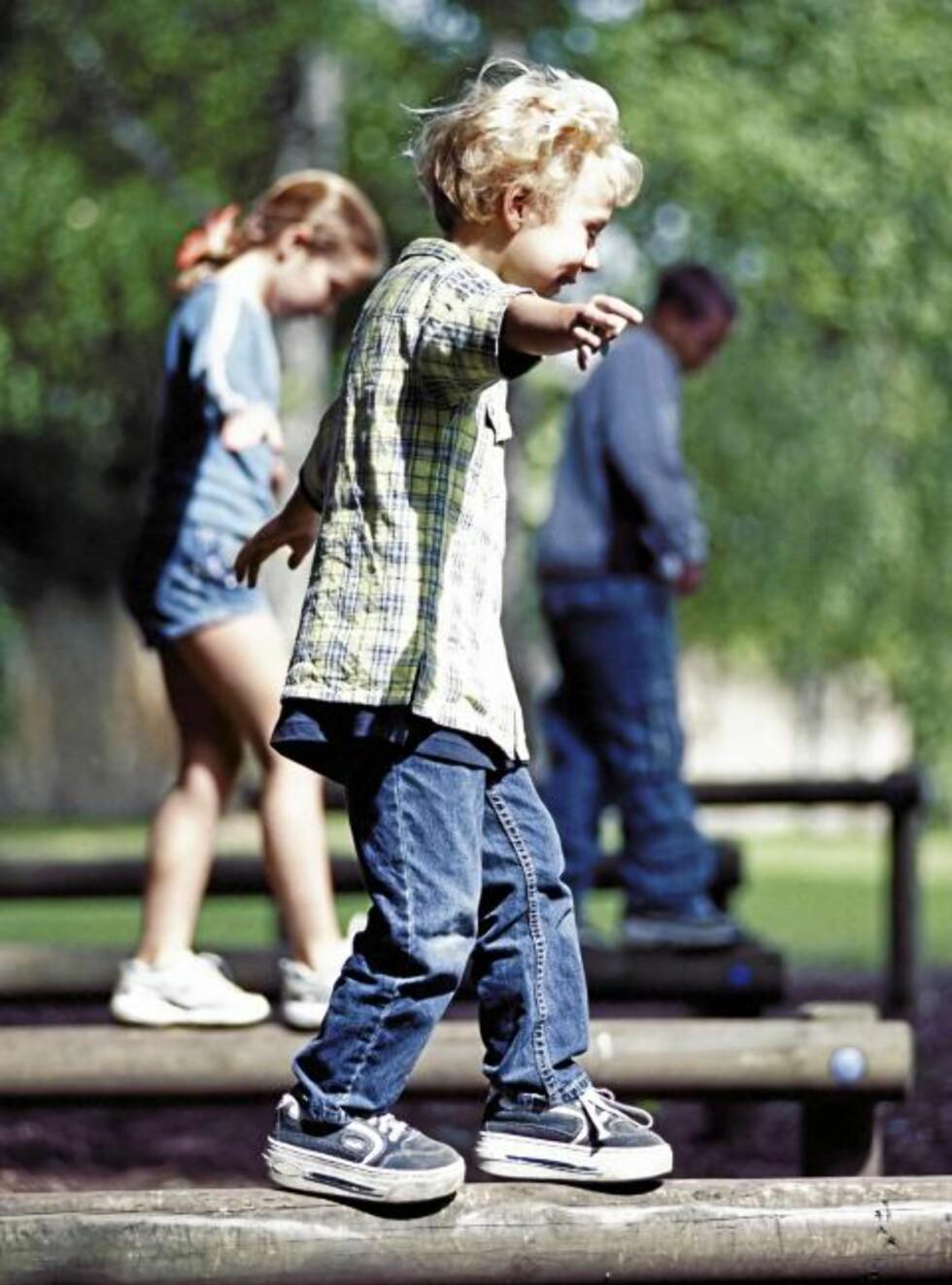 LÆRES OPP:  Aktivitet og samspill: Det er viktig for barn å kunne hoppe, klatre, huske og leke sammen med andre barn. Mestring i lek gjør barnet tryggere i møte med motgang seinere. Foto: Colourbox