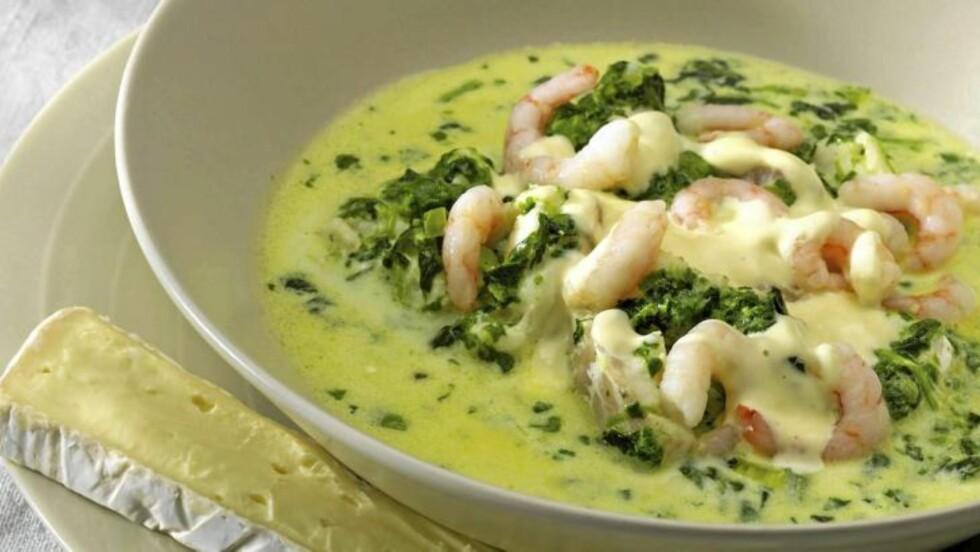PROTEINKILDE: Grønn fiskegryte med reker og aioli er en fiskemiddag med lite karbohydrat. FOTO: Peo Quick