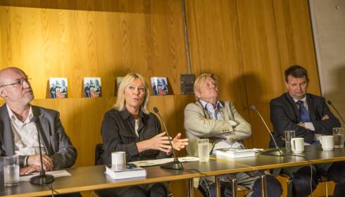 PANELDEBATT: Bernt Aardal, Kristin Clemet,  Stein Ørnhøi og Tor Mikkel Wara var tiln stede under lanseringen av boka. Foto: Terje Bendiksby / NTB scanpix