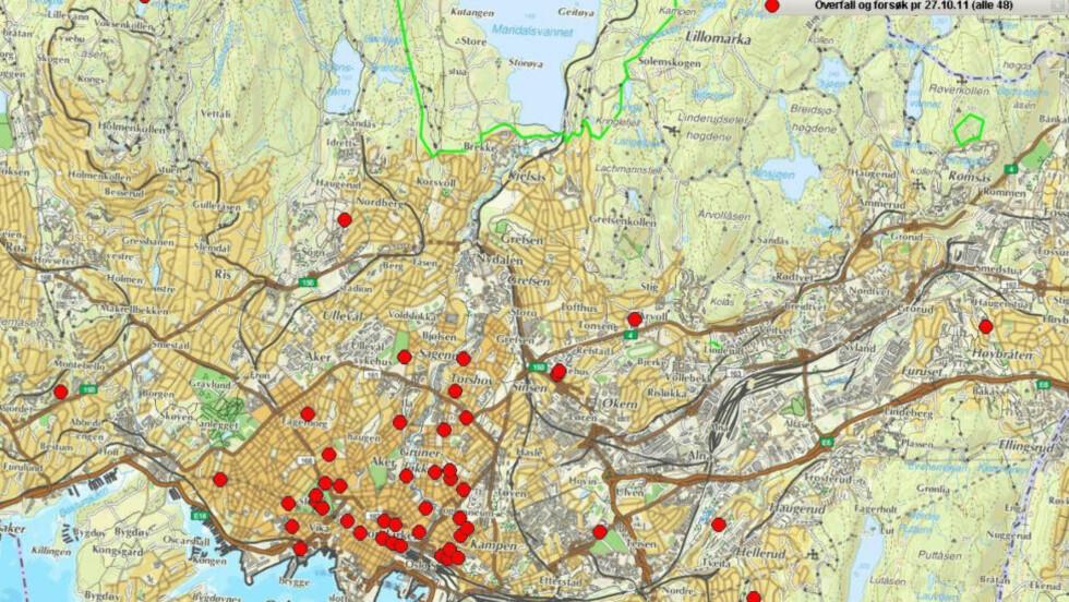 VOLDTEKTSBØLGE: Dette er oversikten over samtlige 48 overfallsvoldtekter og forsøk på dette per 27. oktober i år. 35 av 48 er begått av i sentrum av Oslo. Foto: Oslo politidistrikt.