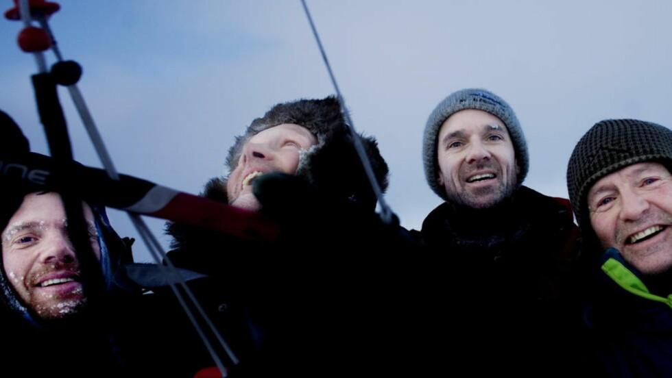 I AMUNDSENS FOTSPOR:Polarhistoriker Harald Dag Jølle (38), Vegard Ulvang (47), Forsker Jan-Gunnar Winther (47) og eventyreren Stein P. Aasheim (58) landet trygt på Antarktis i går kveld. Her trener de i forkant av ekspidisjonen i Hemsedal. Arkivfoto: Linda Næsfeldt / Dagbladet