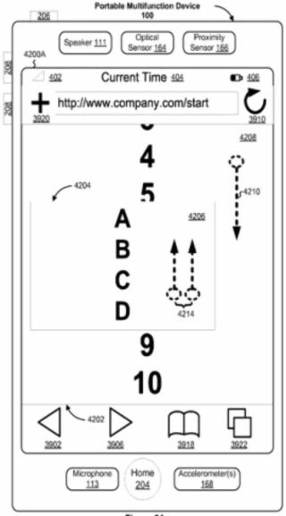 MULTI TOUCH: Et bilde som forklarer hvordan teknologien fungerer. Fra patentsøknaden til Apple.