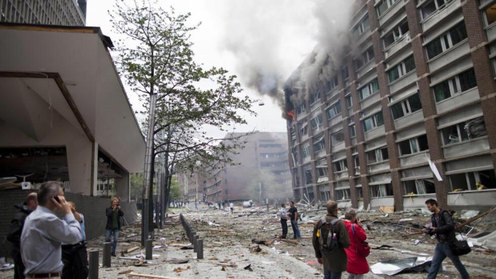 KRAFTIG EKSPLOSJON: Skadeomfanget er enormt etter eksplosjonen i Regjeringskvartalet i ettermiddag. Foto: Thomas Winje Øijord / Scanpix