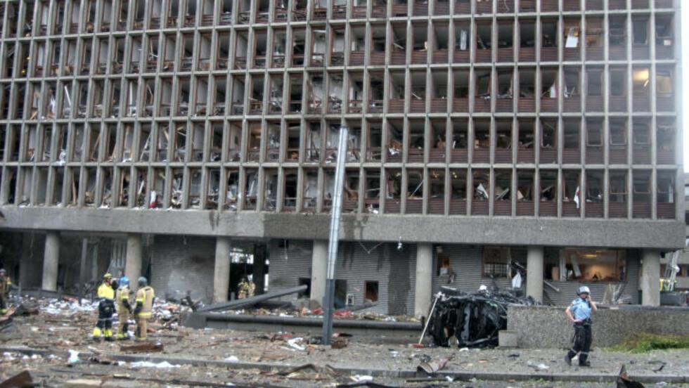 OSLO: En bombe eksploderte ved Regjeringskvartalet i Oslo i går ettermiddag.  Foto: Øistein Norum Monsen / Dagbladet
