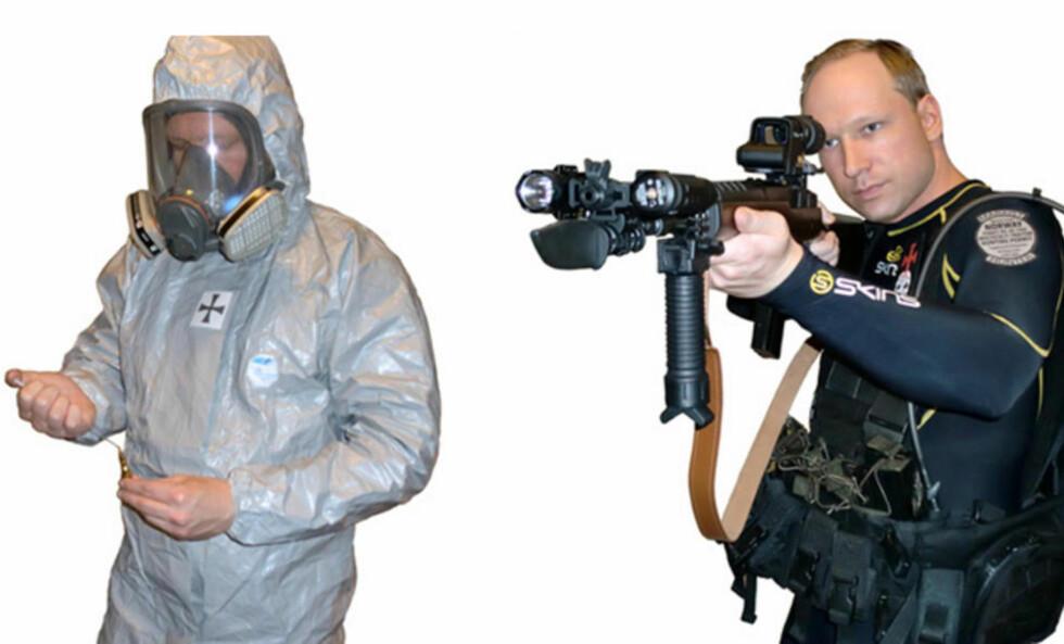 LA UT BILDER I BOKA: Anders Behring Breivik har i avhør sagt at det er han som har skrevet boka på 1500 sider. På de siste sidene finnes flere bilder av ham i ulike uniformer. Forfatteren skriver at hvordan han skal ikle seg fiendens uniformer, vanligvis politiuniformer - for å forvirre og få folk til å nøle. Faksimile: Fra boka