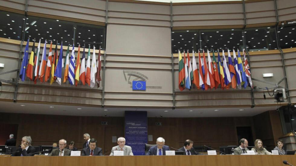 MAKTSENTRUM: President Herman Van Rompuy i European Council taler til The European Parliament i Brussel i slutten av juni. Han har mange problemer han skal takle i disse dager.   REUTERS/Thierry Roge