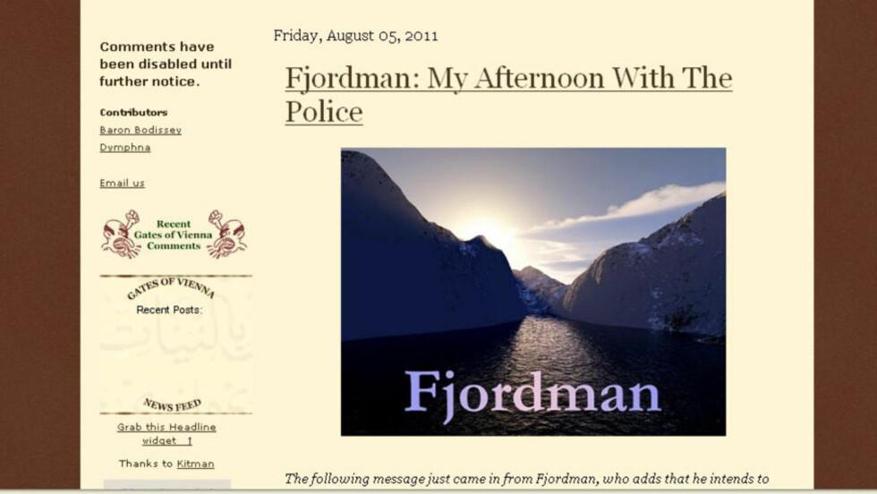 VIL LIGGE LAVT: Men Fjordmans fortelling ligger nå ute på hans faste nettsted Gates of Vienna. Her forteller han hvordan de siste dagene har vært og om avhøret med politiet.