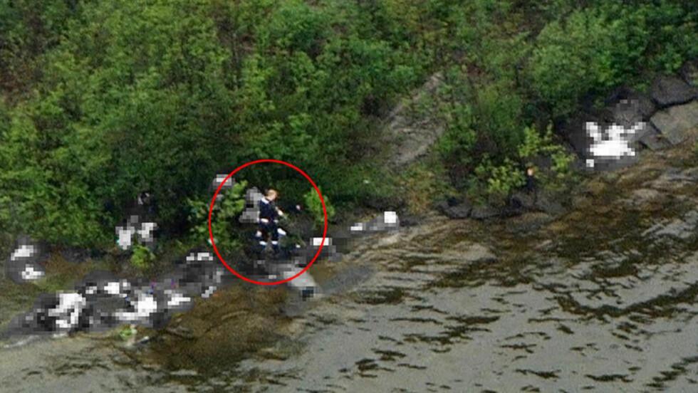 FØR POLITIET:  NRKs helikopter kom til Utøya i underkant av fire minutter før politiet, og massemorderen ble filmet under massakren. Foto: Marius Arnesen, NRK.
