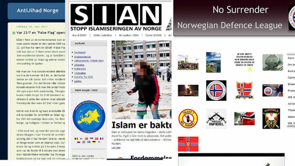 HØYREEKSTREME MILJØER: Det antimuslimske miljøet opererer på internett. Her florerer forestillinger om at Norge er i ferd med å bli invadert og okkupert av muslimer. Collage av bloggen Anti Jihad Norge som ble nedlagt etter terrangrepet, Norwegian Defence leage og SIAN (Stopp Islamiseringen av Norge).