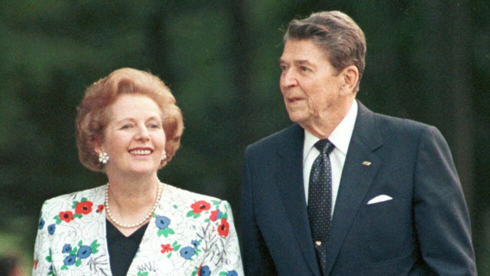 Smittsom sykdom: Margaret Thatcher og Ronald Reagan under et møte i Canada i 1988. «En smittsom sykdom, eller ideologi, der økende ulikhet er et viktig symptom, brøt ut i USA og Storbritannia omkring 1980, med Thatchers maktovertakelse i Storbritannia i 1979 og Reagans i USA i 1981», skriver kronikkforfatteren. Arkivfoto: Gary Hershorn/Reuters/Scanpix
