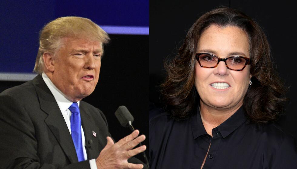 ONDT BLOD: Donald Trump nevner ofte Rosie O'Donnell fra talerstolen. Foto: Abaca / Reuters / NTB Scanpix (montasje)