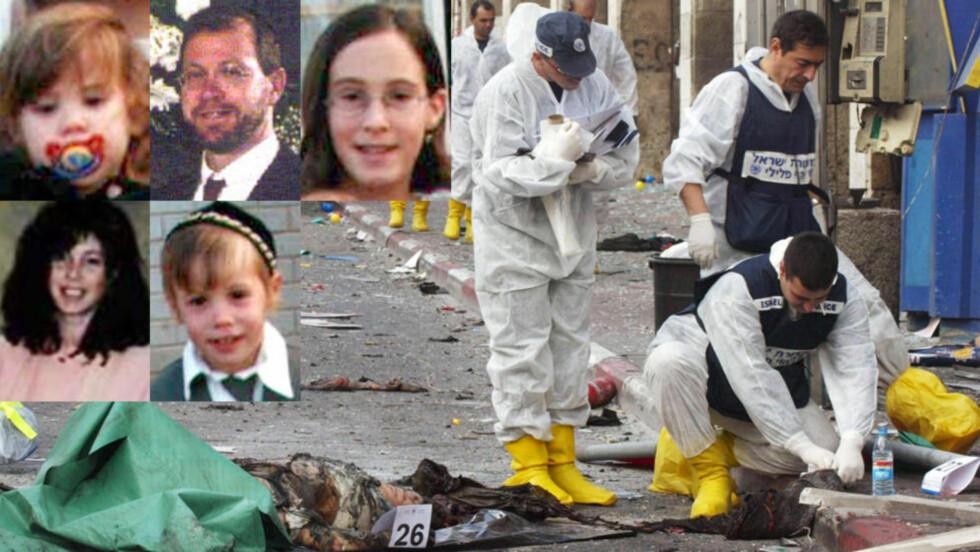 FEM AV SEKSTISEKS: Her er fem av ofrene etter at en selvmordsbomber sprengte en bombe laget av terroristen Abdallah Barghoutis, som har rett til 6000 kroner i månedslønn i tillegg til andre sosiale ytelser på grunn av at han sitter i israelsk fengsel. Fra øverst til venstre: Hemda (2), Mordechai, Ra'aya (14), Tzira og Yitzhak (4). Foto: EPA/Israleske myndigheter
