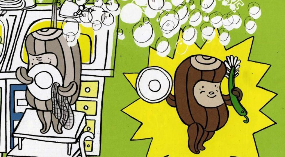 MUSIKALSK: Kubbe finner ut at musikk kan være så mangt, i bok nummer to om den entusiastiske trestubben. Illustrasjon fra boka