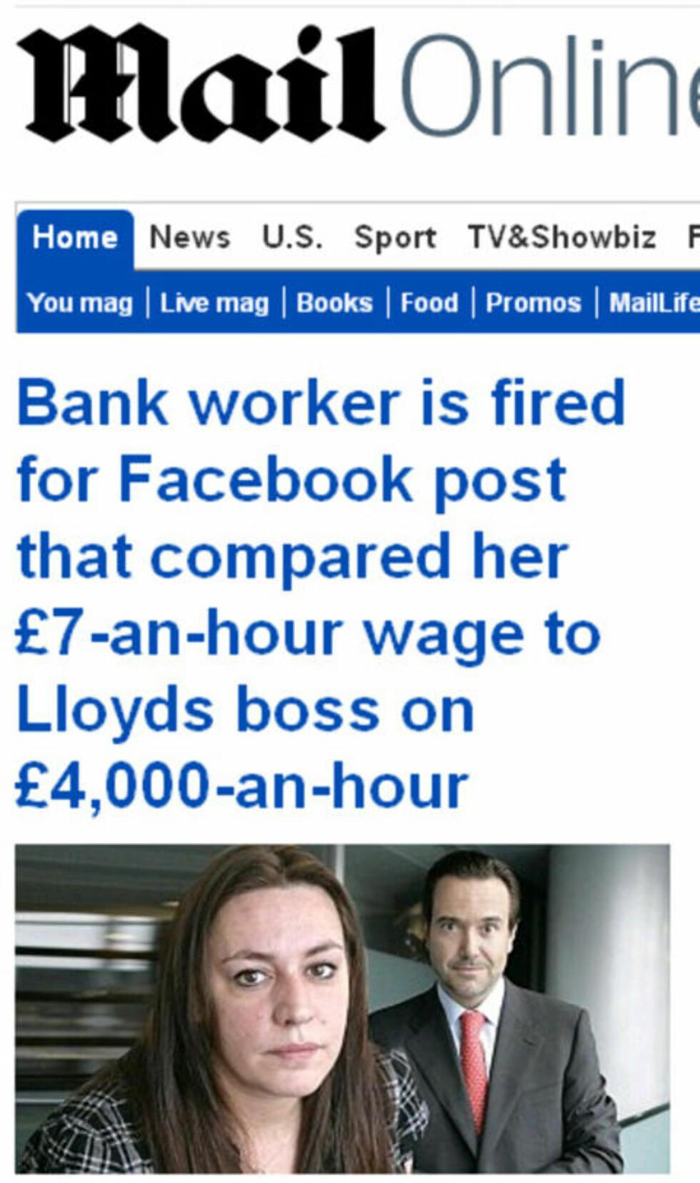 KRITISERTE SJEFEN: Stephanie Bon (37) fra Colchester i Essex jobbet som bankansatt for Lloyd Banking Group (LBG) da hun hørte om den nye sjefens kakselønn. Dermed la hun ut følgende melding på sin egen Facebook-side:  «LBGs nye sjef tjener 4.000 pund i timen (35.392 norske kroner red.anm.). Jeg får 7 pund (61,93 kroner red.anm.)».  Faksimile fra Daily Mail.