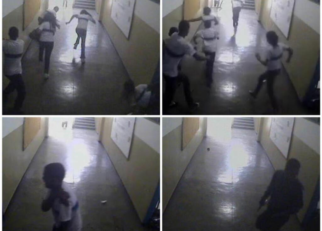 FANGET PÅ KAMERA: Gjerningsmannen,  Wellington Menezes de Oliveira (24), kan observeres på bildet nederst til høyre. Bildene viser elever som flykter, og en lærer som forsøker å vise vei. Foto: REUTERS/Rio Police/Scanpix