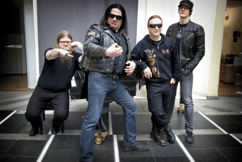KANONISERT: De fire store black metal-banda, hvertfall som er aktive på livefronten i dag, representert ved (fra venstre) Ivar Bjørnson (Enslaved), Olve Eikemo (Immortal), Jørn Stubberud (Mayhem) og Sigurd Wongraven (Satyricon). Foto: Øistein Norum Monsen