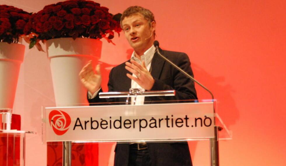 KOM PÅ BESØK: Ole Gunnar Solskjær gjestet Ap-landsmøtet. Foto: Arbeiderpartiet.
