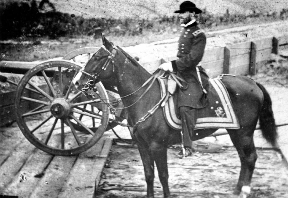 FRYKTET AV SYDSTATENES BORGERE:: General Willam T. Sherman gjorde seg først og fremst bemerket som general under borgerkrigen med sin «marsj til havet». Fra Tennessee førte han i 1864 sin hær ned gjennom Georgia, hvor han inntok Atlanta, som var et av sydstatenes viktigste knutepunkter. Beleiringen og det etterfølgende slaget om Atlanta er udødeliggjort i boken og filmen Tatt av vinden. Foto: AP/Scanpix.
