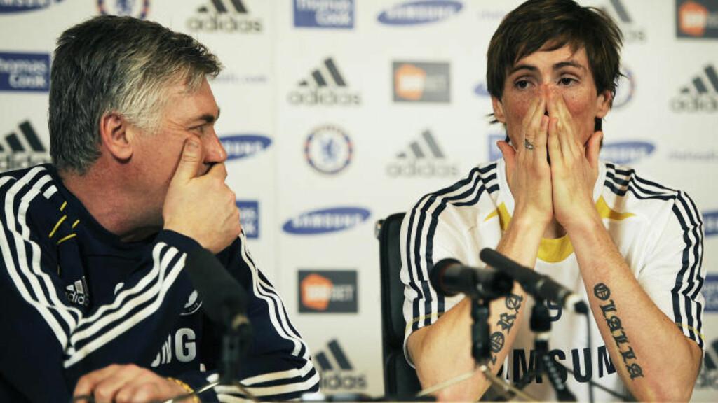 REKORDKHJP: Carlo Ancelotti handlet inn Torres for for 50 millioner pund i januar. Spissen har ennå ikke scoret for sin nye klub. Foto: AFP/Carl de Souza