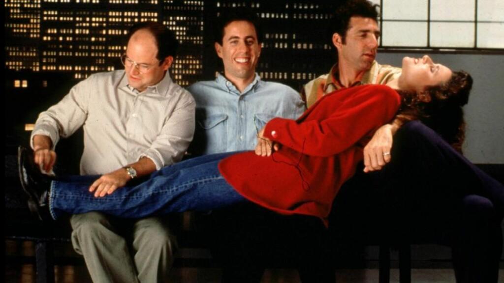 """NEVNT PÅ SEINFELD: Seinfeld var """"et program om ingenting"""" fra dagliglivet i New York og ble en av de største TV-suksessene noensinne. I en episode i 1991 refererte Jerry Seinfeld (i midten) til Grete Waitz i en samtale om New York Marathon, som hun vant ni ganger. Foto: Columbia Tristar Television/REUTERS"""