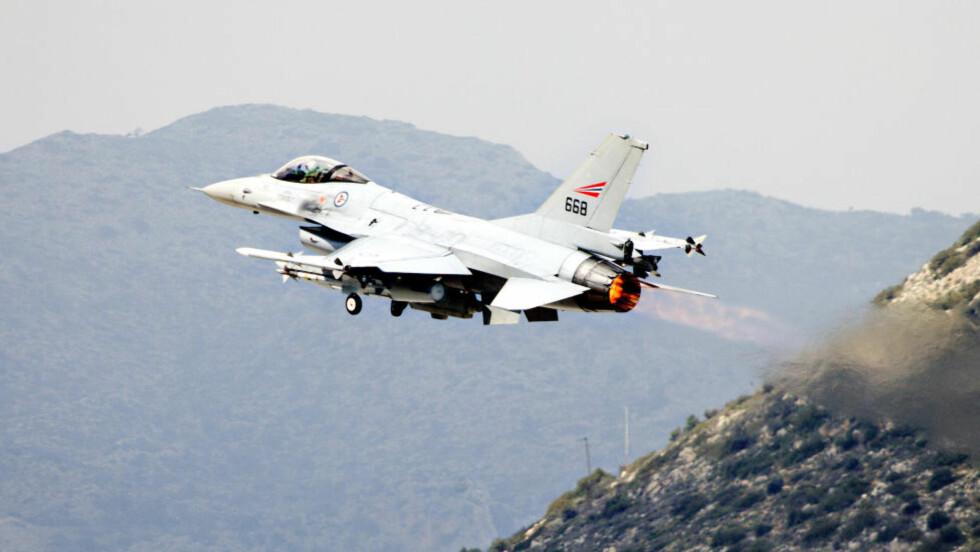 PÅ TOKT: De norske jagerflyene som deltar i Operation Odyssey Dawn har gjennomført 130 tokt over Libya. Foto: LARS MAGNE HOVTUN, FORSVARET