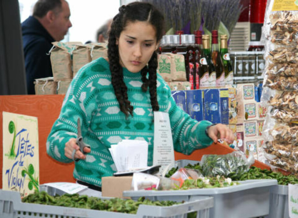 LOKALFAVORITT: På markedet Jean Talon i Montreal får du kjøpt ferske skudd av strutseving, som er en populær grønnsak i Quebec. Foto: TONE VASSBØ
