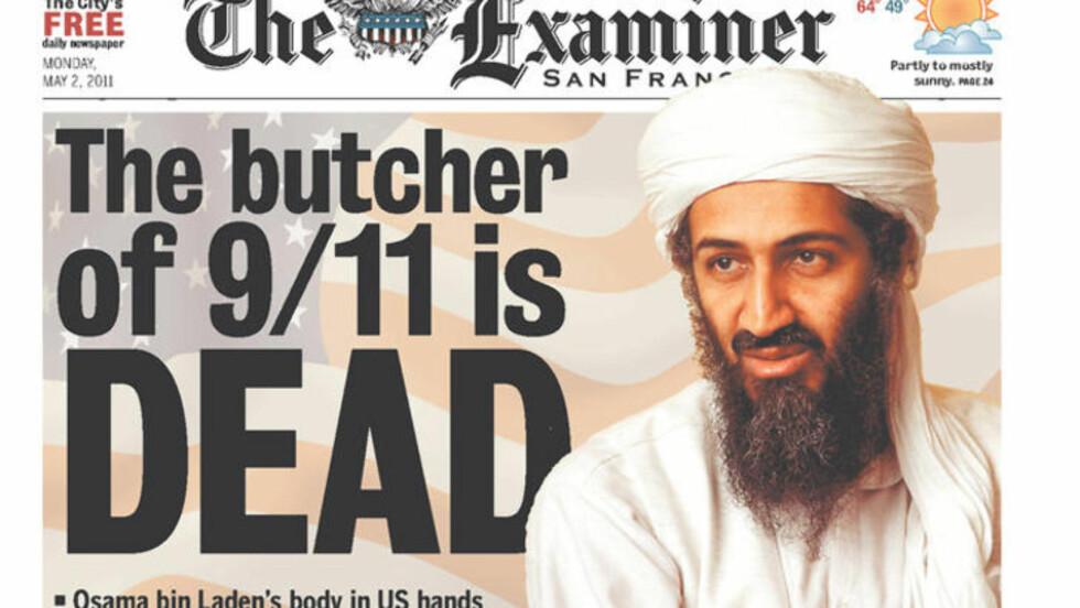 SLAKTEREN:  San Francisco-pressen hyller drapet på Osama bin Laden.