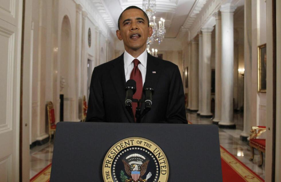 SLAPP «BOMBEN»:  USAs president Barack Obama under talen der han kunne fortelle at amerikanske spesialstyrker har tatt livet av Osama bin Laden. Foto: REUTERS/Jason Reed