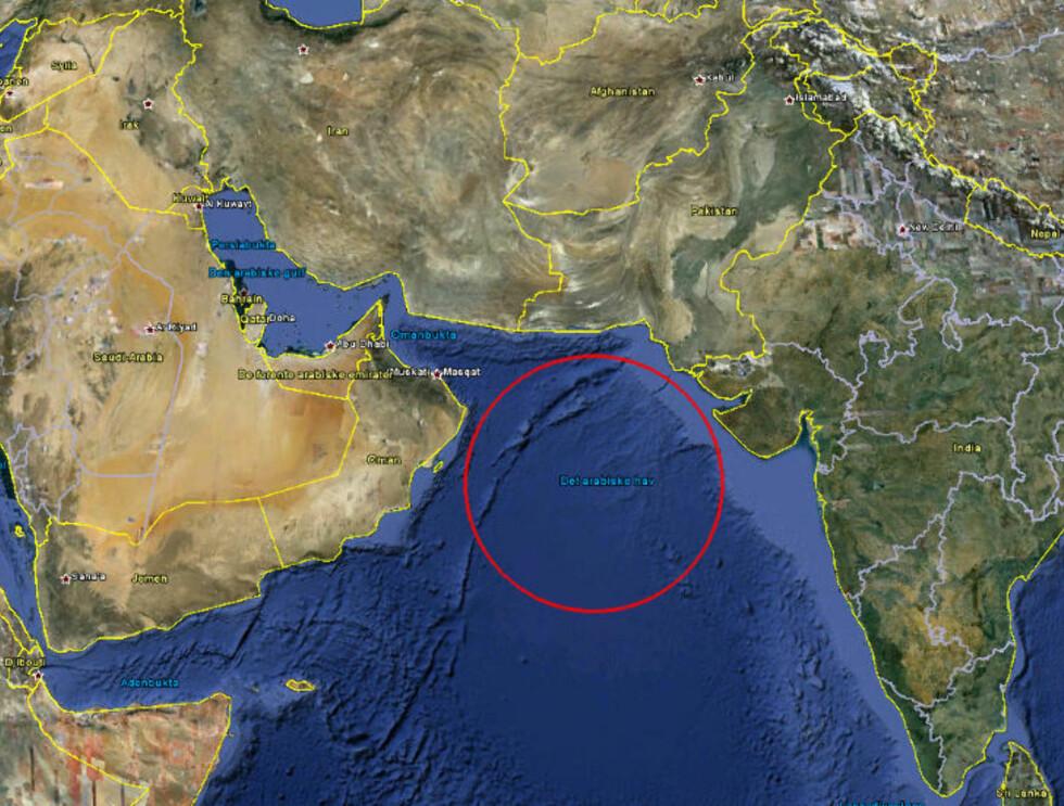 GRAVSTEDET: Ifølge en ikke navngitt amerikansk tjenestemann ble begravelsen gjort til havs for å forhindre at bin Ladens grav skulle bli et valfartssted. Foto: Google Earth