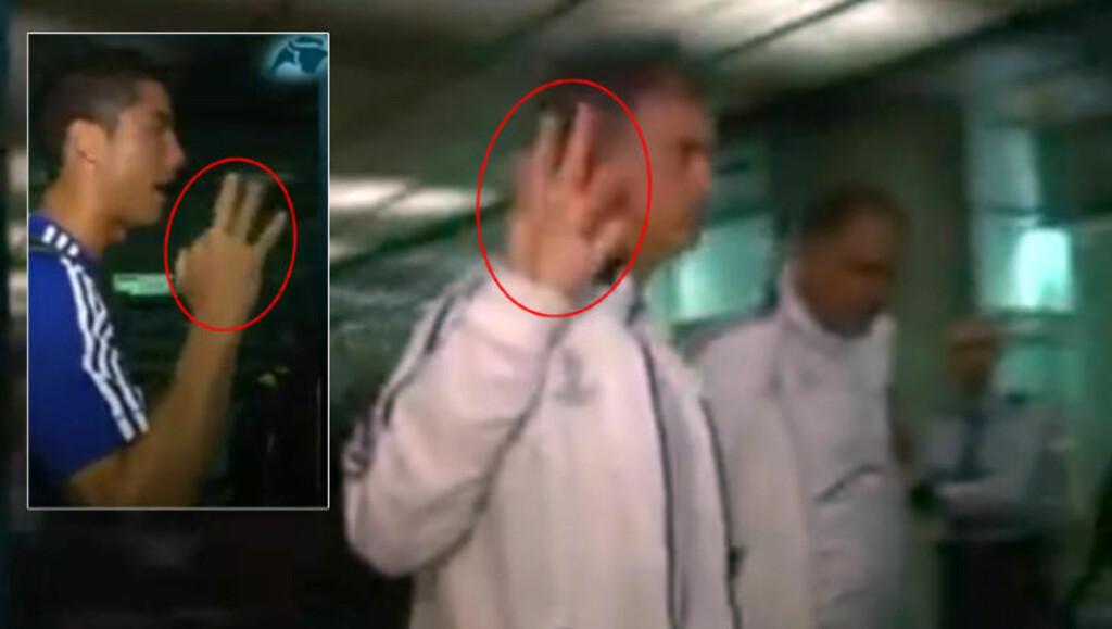 PORTUGISISK TEGNSPRÅK: Også Cristiano Ronaldo (innfelt) viste samme tegn med hånda som treneren. Foto: Intereconomia TV