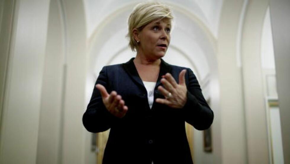 «SV-SURR OG BULLSHIT» Fremskrittspartiets leder Siv Jensen er oppgitt. Foto: Stian Lysberg Solum / SCANPIX