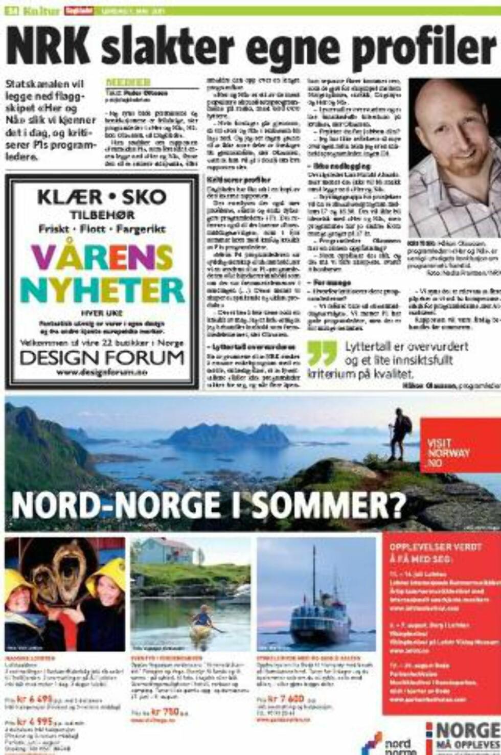 FAKSIMILE 7. MAI: I helga avslørte Dagbladet at NRK slakter egne profiler.
