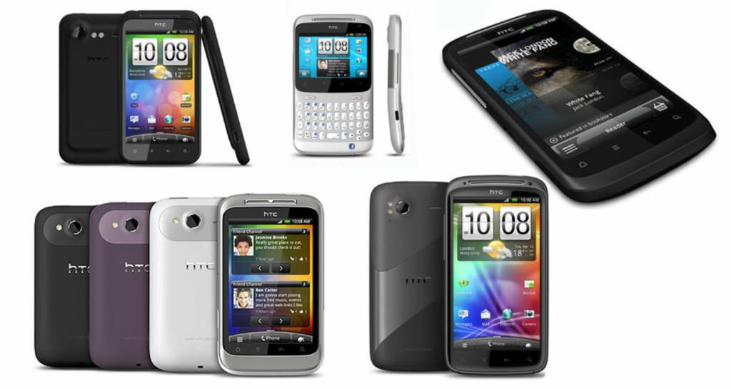 FEM NYE FRA HTC:  Her er de fem ferskeste HTC-telefonene. Foto: Produsenten