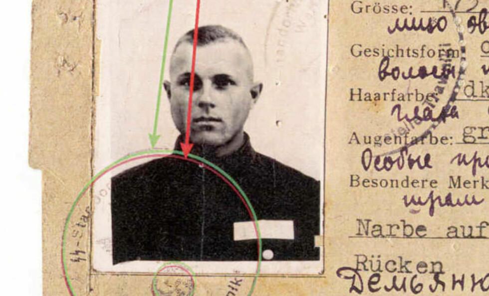 OMSTRIDT BEVIS: Demjanjuks tyske ID-kort, som viser at han var medlem av Trawniki-avdelingen. Gruppa hadde som oppgave å spore opp og drepe jøder. Forsvaret har hele tida hevdet at kortet er falskt. Foto: DET AMERIKANSKE JUSTISDEPARTEMENTET/AP/SCANPIX
