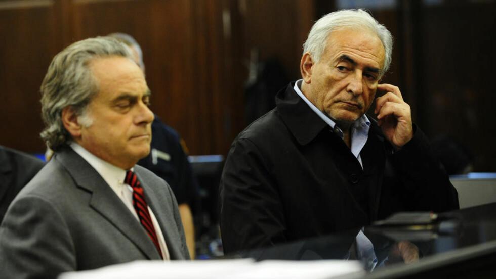 MÅTTE MØTE I RETTEN: IMF-sjefen ble nektet kausjon da han møtte i retten i New York. Foto: AFP Photo/Emmanuel Dunand/Scanpix
