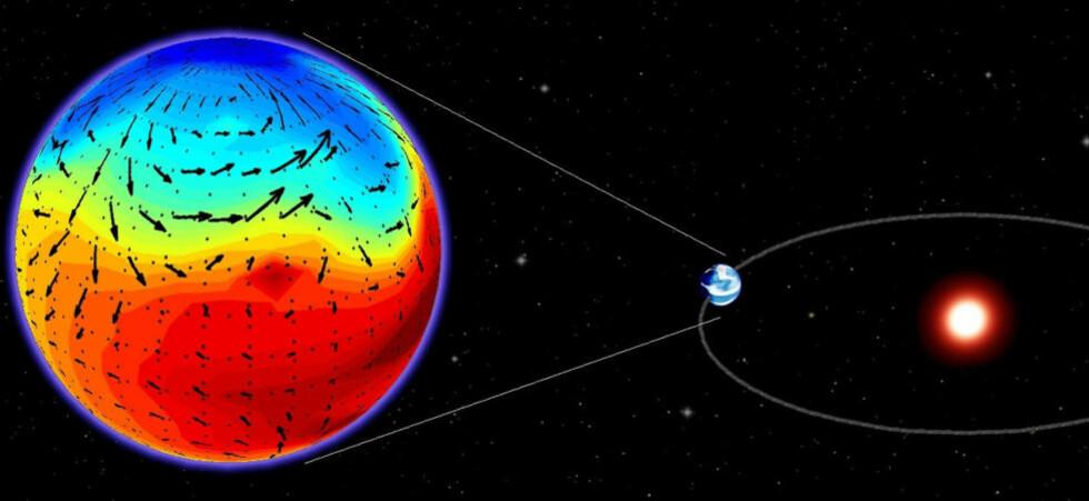 Forskere trodde lenge at planeten Gliese 581d lå for langt unna moderstjernen Gliese 581 til at vann kunne være i en annen form enn is. Nå viser avanserte datamodeller at planeten kan være i stand til å ha en kraftig nok drivhuseffekt til at det finnes flytende vann - en forutsetning for liv som vi kjenner det. Foto: AFP PHOTO / HO / LMD / CNRS / SCANPIX