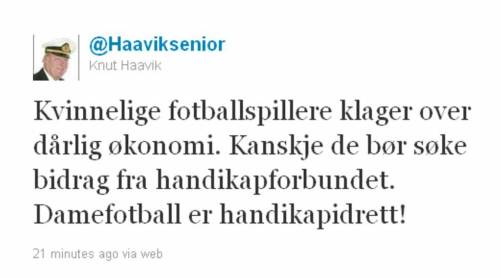 HANDIKAPIDRETT: Knut Haavik bruker twitter til å kritisere damefotball. Foto: Skjermdump/Twitter