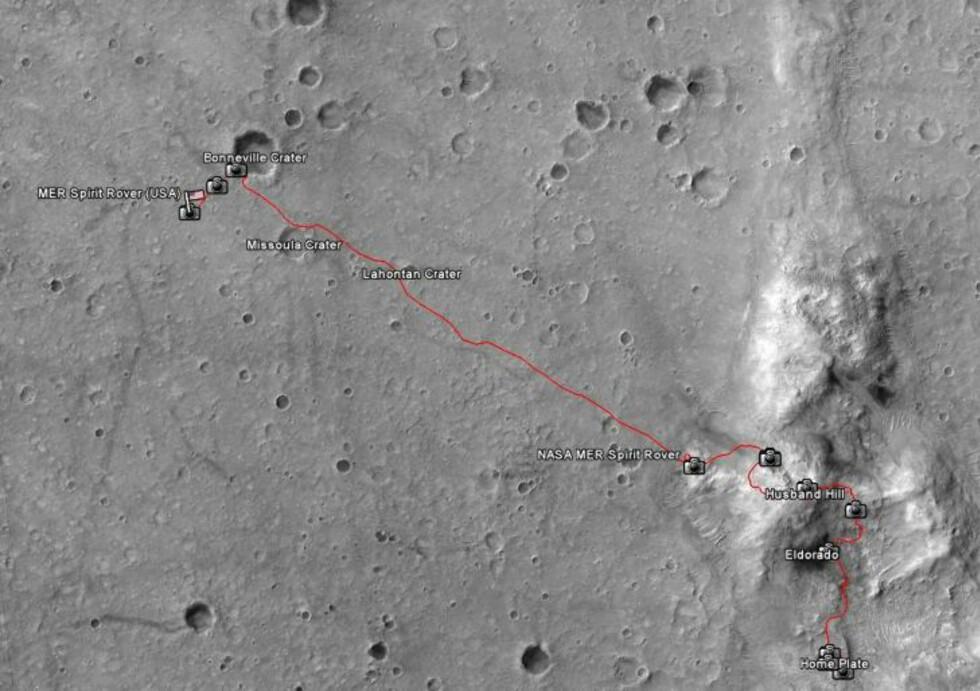 SISTE REIS: Etter landing på Home Plate i 2004 kjørte Mars-roveren Spirit 7730,48 meter før døden i Gusev-kratret. Kart: Google Earth
