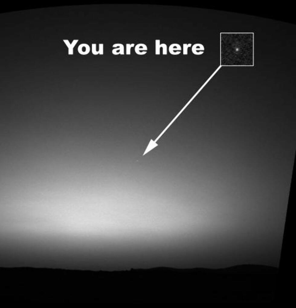DU ER HER: Spirit fotograferte jorda fra en avstand på mange millioner kilometer. Foto: NASA/JPL