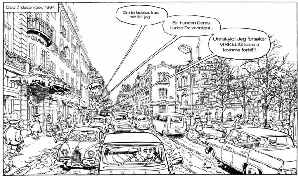 KARL JOHAN, 1964: Etter flere år med research og konseptutvikling har skaperne av «Krüger & Krogh» dannet seg et komplett bilde av hvordan Oslo så ut på midten av 60-tallet. Albumet er planlagt utgitt i farger, her er en skisse.    © Ronald Kabicek, Bjarte Agdestein, Endre Skandfer