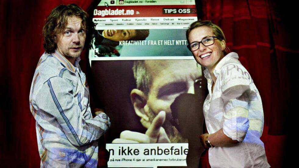 SUKSESS:  Jon Reidar Hammerfjeld og Elisabeth Svendby presenterte den nye siden på Dagbladet.no for et knapt år siden. Siden omleggingen av forsiden har enda flere lesere kommet til db.no. Foto: Nina Hansen / Dagbladet